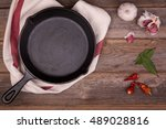 empty cast iron skillet with... | Shutterstock . vector #489028816