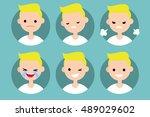 blonde pale man profile pics  ... | Shutterstock .eps vector #489029602