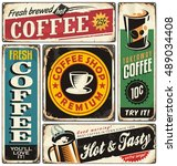 coffee shop retro metal signs... | Shutterstock .eps vector #489034408