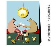 two single bears in friendly... | Shutterstock .eps vector #489038962