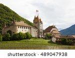 aigle castlew with vineyard ... | Shutterstock . vector #489047938