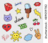 patch badges set. stickers ... | Shutterstock .eps vector #489059782