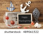 chalkboard with summer... | Shutterstock . vector #489061522