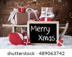 sleigh with gifts  snow ... | Shutterstock . vector #489063742