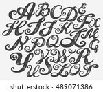 calligraphy alphabet typeset... | Shutterstock .eps vector #489071386