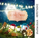 christmas greeting card with... | Shutterstock .eps vector #489076042