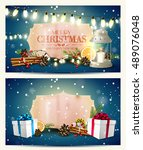 vector set of two christmas... | Shutterstock .eps vector #489076048