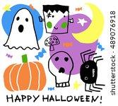 halloween party card  flayer ...   Shutterstock . vector #489076918