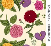 seamless pattern with flowers....   Shutterstock .eps vector #489078406