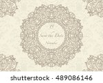 card or wedding invitation with ... | Shutterstock .eps vector #489086146