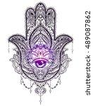 hand drawn ornate amulet hamsa... | Shutterstock .eps vector #489087862