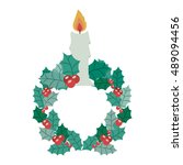 candle icon. merry christmas... | Shutterstock .eps vector #489094456
