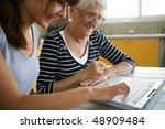 senior woman with home help | Shutterstock . vector #48909484