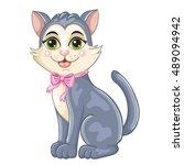 cute cartoon kitten on white...   Shutterstock .eps vector #489094942