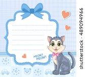baby shower invitation for boy... | Shutterstock .eps vector #489094966