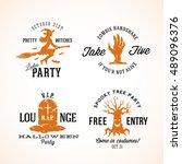 vintage halloween vector badges ... | Shutterstock .eps vector #489096376