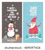 christmas posters set.... | Shutterstock .eps vector #489097426