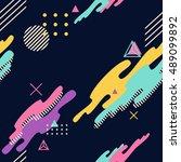 memphis seamless vector pattern  | Shutterstock .eps vector #489099892