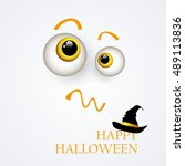 halloween background.the eyes... | Shutterstock .eps vector #489113836