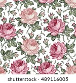 roses. seamless classic pattern.... | Shutterstock .eps vector #489116005