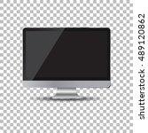 desktop computer flat icon.... | Shutterstock .eps vector #489120862