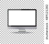 desktop computer flat icon.... | Shutterstock .eps vector #489121282