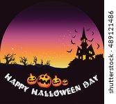happy halloween day pumpkin bat ... | Shutterstock .eps vector #489121486