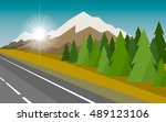 the autumn landscape of forests ... | Shutterstock .eps vector #489123106