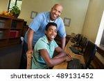 teacher and student. | Shutterstock . vector #489131452