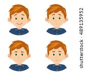 cartoon set avatars with the... | Shutterstock .eps vector #489135952