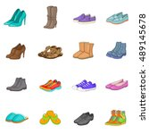 Shoe Icons Set In Cartoon Style....