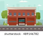 fire station vector building.... | Shutterstock .eps vector #489146782