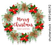 christmas floral wreath  round... | Shutterstock .eps vector #489148192