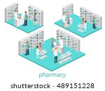 isometric interior of pharmacy. ... | Shutterstock .eps vector #489151228