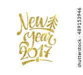 gold happy new year card.... | Shutterstock .eps vector #489153946