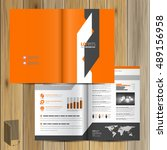 orange brochure template design ... | Shutterstock .eps vector #489156958