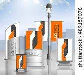 orange outdoor advertising... | Shutterstock .eps vector #489157078