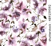 floral pattern. watercolor... | Shutterstock . vector #489159592