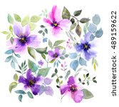 greeting card with flowers.... | Shutterstock . vector #489159622