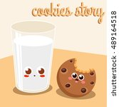 story of chocolate cookies and... | Shutterstock .eps vector #489164518