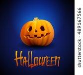 halloween pumpkin carved... | Shutterstock .eps vector #489167566