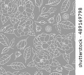seamless hand drawn floral... | Shutterstock .eps vector #489169798