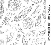 seamless hand drawn floral... | Shutterstock .eps vector #489170638