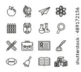 school education icons set 1.... | Shutterstock .eps vector #489172156