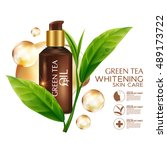 green tea oil skin care... | Shutterstock .eps vector #489173722