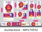 diwali festival website banner... | Shutterstock .eps vector #489174952