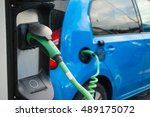modern electric car connected... | Shutterstock . vector #489175072