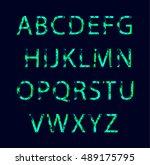 emerald neon light glowing... | Shutterstock .eps vector #489175795
