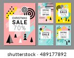 christmas sale backgrounds ... | Shutterstock .eps vector #489177892