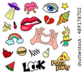fashion patch badges. big set.... | Shutterstock . vector #489178702